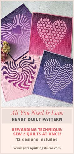 Reverse Applique Heart Quilt Pattern- this rewarding technique teaches you how to sew 2 quilts at once; 12 heart designs are included. #heartquiltpattern #heartquilt #appliqueheartquiltpattern #valentinesdayquiltpattern