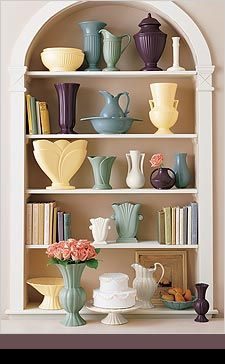 Pottery display on bookshelves-  Haeger Potteries was not one of my favorites but this display is to die for. You can still find these at affordable prices.