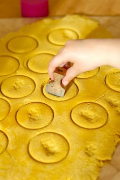 Using vintage stamp on salt dough gold coins