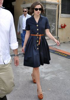 navy knee length dress with sleeves