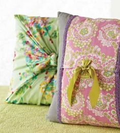 Dress up worn throw pillows with no-sew covers made from scarves or other fabric squares. Easy-peasy!