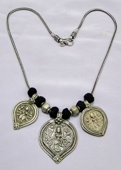 Ethnic tribal old silver charms pendants beads necklace jewelry -11133 - www.tribalexport.com
