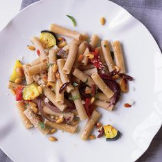Whole Wheat Rigatoni with Roasted Vegetables | These healthy pasta recipes feature deliciously spicy soba noodles with grilled shrimp and cilantro, and vitamin A–rich macaroni and cheese.