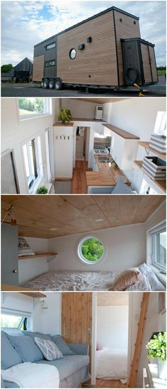 The Acacia is a modern tiny house on wheels built by Quebec-based Minimaliste. A main floor bedroom, loft bedroom, and sofa bed provide plenty of sleeping options for a family.  The main floor bedroom is located at one end of the house and has a barn door for privacy. The bedroom loft above is accessed by a ladder and has a fold down wall partition for extra privacy.