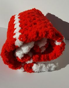 Red Baby Blanket Santa Baby Blanket Baby by UniqueKnitDesign