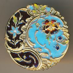 Button--Large Rocaille Rococo Design Late 19th C. Champleve Enamel Wild Rose