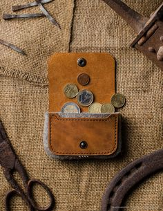 orange Leather coin purse wool felt handmade vintage