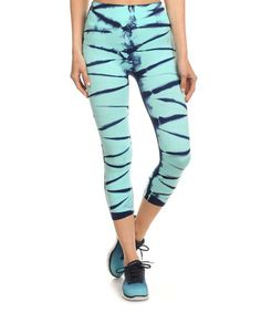 This Turquoise & Navy Tie-Dye Seamless Capri Active Pants is perfect! #zulilyfinds