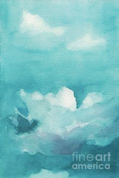 Blue Sky White Clouds Watercolor Painting - Beverly Brown Prints