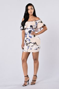 Floral Fix Dress - Taupe