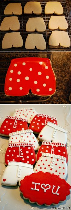 Valentine's Day Boxer Shorts Cookies - Cupcakepedia Valentines Day Food, Be My Valentine, Gifs Ideas, Frosting Techniques, Dessert Drinks, Desserts, Fancy Cookies, Cookie Designs, Cookie Decorating