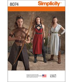 Simplicity Misses' Warrior Costumes-14-16-18-20-22
