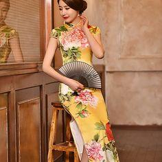 28e68f697 2016Yellow chinese style dress chinese silk qipao long cheongsam  traditional chinese dress wedding dress chinese dress qipao -in Cheongsams  from Novelty ...