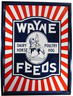 Wayne Dairy Horse Feeds Porcelain Sign