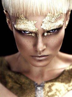 Gold leaf Make Up Inspiration Gold Makeup, Makeup Art, Beauty Makeup, Hair Makeup, Metallic Makeup, Makeup Collage, Metallic Eyeshadow, Runway Makeup, Make Up Looks