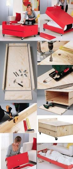 Now this is smart! Free DIY Coffee table / Fold Out Bed Project! http://www.rockler.com/how-to/convertible-coffee-table-folding-bed-project/