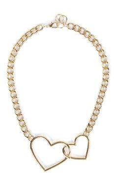 Deb Shops short chunky chain necklace with 2 linked hearts $6.75