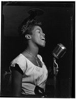 Portrait of Sarah Vaughan, Café Society (Downtown)(?), New York, N.Y., ca. Aug. 1946. Photograph by William P. Gottlieb. William P. Gottlieb Collection, Library of Congress Prints and Photographs Division.