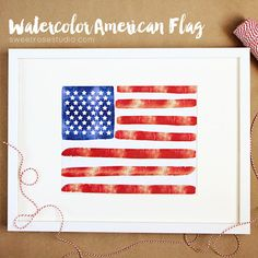 Free Watercolor American Flag Print from Sweet Rose Studio