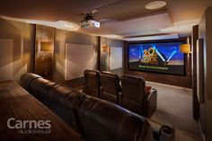 """The forgotten room in this home is now the favorite! 123"""" Projection Screen with 7.1 Surround Sound."""