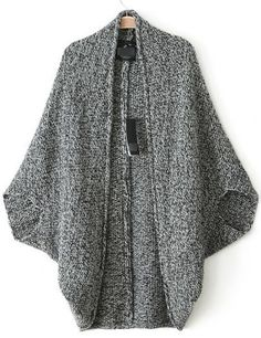 Grey Batwing Sleeve Asymmetrical Cardigan pictures
