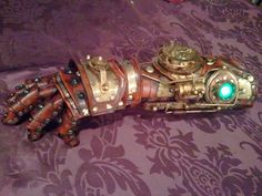 Steampunk Robot Arm - Handmade Unique Gauntlet by SkinzNhydez Leather Steampunk Creations