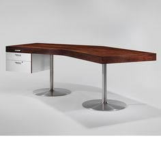 Joseph-André Motte; Unique Rosewood, Formica and Aluminum Desk for the Office of the Director General of Dunkerque, 1965.
