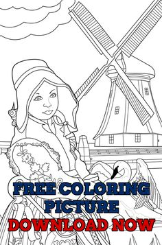 A Free Coloring Page To Share With You Two Adorable Dutch Girls Inspired By My I Colored This Picture For Adult Book