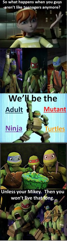 I do not own TMNT. Raph is trying to figure out what he would look like when he's not a teenager. No Longer Teenagers? Tmnt Turtles, Teenage Ninja Turtles, Tmnt 2012, Tmnt Comics, Link Zelda, Dc Movies, Sailor Jupiter, Cartoon Shows, Disney Fan Art