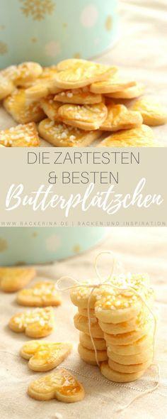 Dieses Butterplätzchen Rezept ist das allerbeste: Die Butterplätzchen sind so zart, dass sie auf der Zunge zergehen! Mehr Weihnachtsrezepte im Blog!