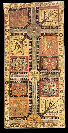 "Early Azerbaijan ""Garden / Chahar Bagh"" carpet, NW Iran, early 18th century. Louvre Museum, Paris, France"