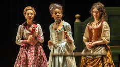 "Susannah Fielding as Mrs. Sullen, Pippa Bennett-Warner as Dorinda and Molly Gromadzki as Gipsy  in ""The Beaux' Stratagem"" (""Strategia gołych kawalerów"") by George Farquhar. Dir. Simon Godwin #NTLive 2015"