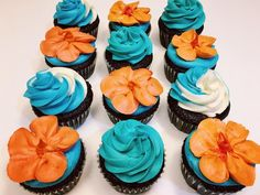 Tropical Moana Cupcakes hibiscus flowers and ocean waves