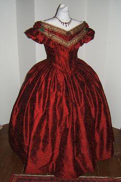 ballgown with bertha | 1860s Burgundy Silk Ballgown