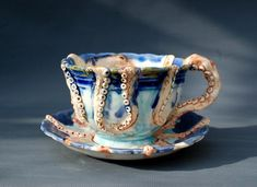 Coffee Cups And Saucers, Cup And Saucer Set, Cute Cups, Kraken, Octopuses, Tea Set, Perfect Cup, Utensils, Pottery