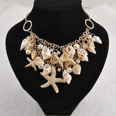 Woman Bohemia Chunky Gold Tone Sea Shell Starfish Pearl Bib Statement Necklace