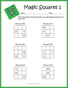 Practice addition the fun way with this set of eight magic squares math worksheets. Students must complete the grids so that each column, row and diagonal add up to the given magic sum. There are four different sizes of grids and with two worksheets for Fractions Worksheets, Printable Math Worksheets, Math Resources, Math Activities, Magic Squares Math, Reto Mental, Math Pages, Numbers For Kids, Logic Puzzles
