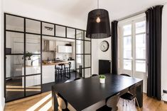 A classic modern apartment renovation with window feature wall and black dining room furniture : by Stellati Rénovation Interior Design, Black Dining Room Furniture, Home, Modern Kitchen Photos, Small Living Rooms, Dining Room Remodel, Tiny Apartments, Home Decor, Living Area