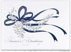 Gift of Nature  Silver Holly and Blue Ribbon Holiday cards  by THE OFFICE GAL Card B3-M-0120-H39B-KD