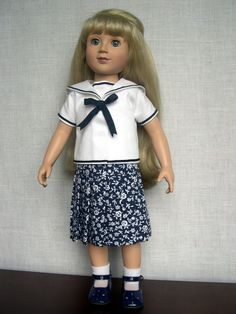 """18 inch Doll Clothes Handmade outfit made to fit 18"""" slim bodied dolls such as Magic Attic Ann Estelle and Eurogirl Carpatina doll Isabella is modeling this dress and top which can be worn in two ways made from a Simplicity Doll pattern 2770 (made by Barb Marlee)"""
