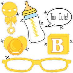 Download and print our free baby shower photo props - perfect for a bright and colourful yellow baby shower theme.