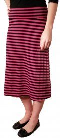 Striped Rayon Skirt - Berry/Black - $19 at DCM Apparel