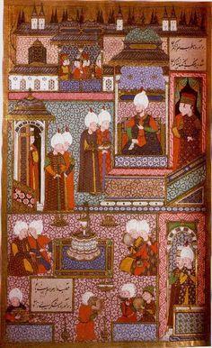 Suleyman receives his Grand Admiral, Hayreddin Barbarossa  Suleymanname.  Ali . Amir Beg Shirwani  Istanbul, 1558.  Hazine. 1517, folio 360a