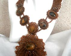 handmade jewelry necklace frill with tiger eye