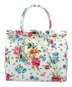 Look at this #zulilyfind! White Floral Latina Leather Satchel #zulilyfinds
