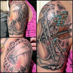 Tattoo by Jojo Miller, Dynamic Ink, Eternal Ink, Radiant Ink, tattoo placement, tattoo ideas, tattoos for men, tattoos for women, tattoos, arm, time, arrow, arrows, beads, pearls, hourglass, shoulder, sand, jewels