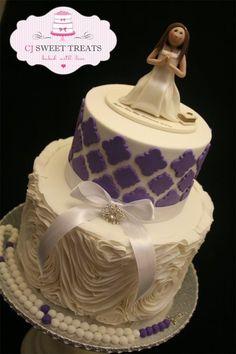 Purple & White First Communion Cake