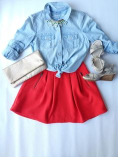Denim or chambray shirt styling. Love it!