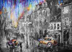 "LONG DAY — Limited edition giclee On Canvas By Leonid Afremov - Size 40""x30"" ___________________________ Click on the image to buy this painting ___________________________ #art #painting #afremov #wallart #walldecor #fineart #beautiful #homedecor #design #vintage #car #giclee #print"