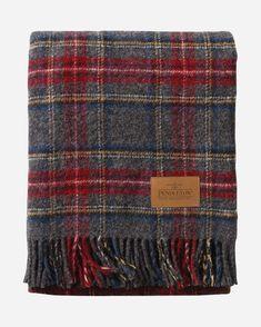 Pendleton Wool Motor Robe w/Leather Carrier Charcoal Stewart Tartan - Liz Ann's Interior Design Boutique Plaid Blanket, Plaid Scarf, Textiles, Tweed, Pendleton Woolen Mills, Pendleton Blankets, Throw Blankets, Pendleton Oregon, Wooly Bully